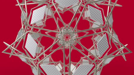 arte : Kaleidoscopic geometric pattern, arabic mandala, mosaic looping muslim background. Abstract indian ornament, 3d render animation graphics. Moving metallic shapes.