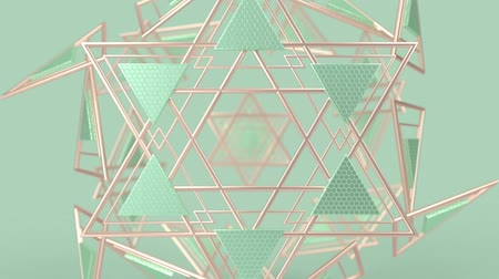 triângulo : Kaleidoscopic geometric pattern, arabic mandala, mosaic looping muslim background. Abstract indian ornament, 3d render animation graphics. Moving metallic shapes.