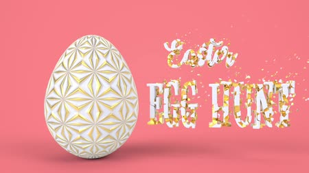 jak : Happy Easter greeting holiday background. Decorative egg as symbol spring celebration. 3d render animation. Minimal style graphic abstract design.