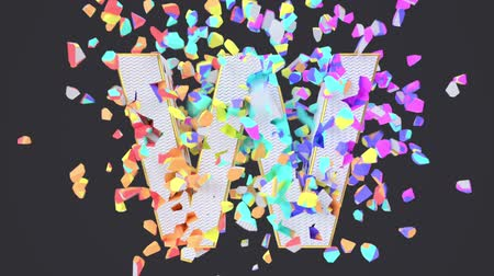 estouro : Exploding festival white font isolated on black background with multicolored falling confetti. Shattered bold carnival greeting letters. Crumbled effect, 3d render animation. Holiday design element. Vídeos