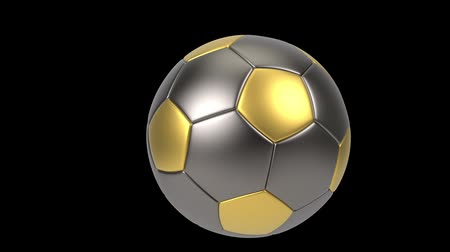 futball labda : Realistic gold and iron soccer ball isolated on black background. 3d looping animation. Football design element. Stock mozgókép