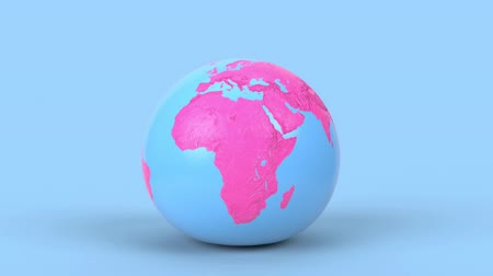 américa do norte : Jumping earth globe on blue background in minimal style. Leaping Earth planet like a ball 3d render animation. America, europe, africa, australia continents.