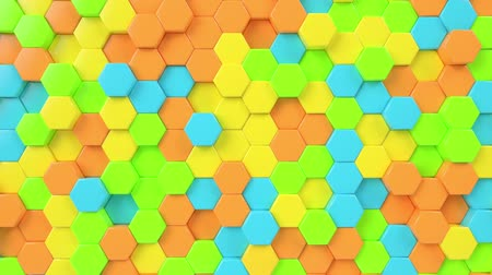 Hexagonal moving looping background. Animated hexagons, honeycomb pattern. 3d render motion graphics. Geometric mosaic seamless wallpaper. Futuristic concept, cell structure.