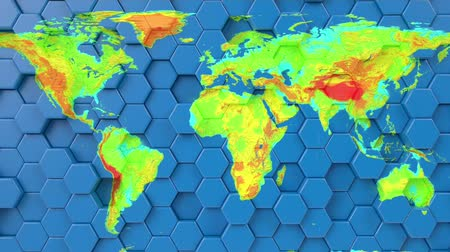 cartografia : World earth map on looping hexagonal blue background. 3d render seamless animation. Geographical atlas, motion graphics. Europe, africa, asia, australia, america continents on geometric pattern.