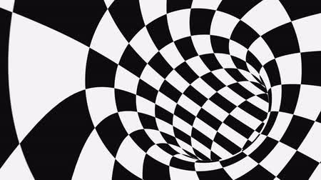 optický : Black and white psychedelic optical illusion. Abstract hypnotic animated background. Checkered geometric looping monochrome wallpaper. Chess modern dynamic backdrop. 3D seamless full HD animation