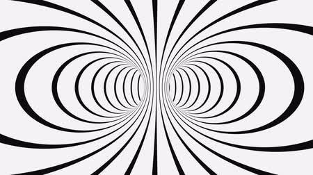 trik : Black and white psychedelic optical illusion. Abstract hypnotic animated background. Spiral geometric looping monochrome wallpaper. Surreal modern dynamic backdrop. 3D seamless full HD animation
