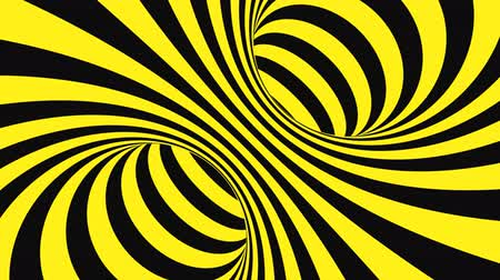 оптический : Black and yellow psychedelic optical illusion. Abstract hypnotic animated background. Spiral geometric looping warning wallpaper. Surreal modern safety dynamic backdrop. 3D seamless full HD animation