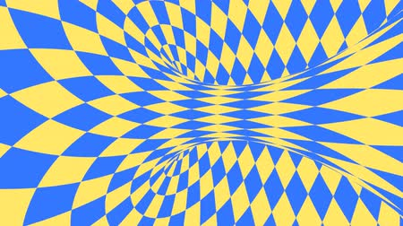 Blue and yellow psychedelic optical illusion. Abstract hypnotic diamond animated background. Geometric looping wallpaper with rhombus shapes. Surreal dynamic backdrop. 3D seamless full HD animation Wideo