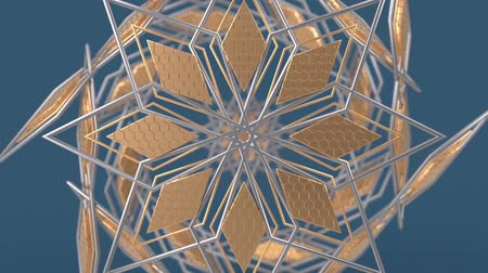 ornamento : Kaleidoscopic geometric pattern, arabic mandala, mosaic looping muslim background. Abstract indian ornament, 3d render animation graphics. Moving metallic shapes.