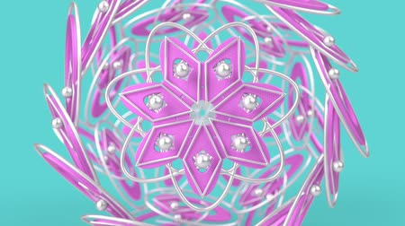 diamantes : Kaleidoscopic geometric pattern, arabic mandala, mosaic looping muslim background. Abstract indian ornament, 3d render animation graphics. Moving metallic shapes.