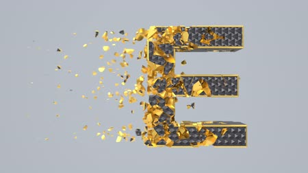 typographie : Destroyed black font isolated on gray background with golden fragments. Shattered bold capital letters with hexagonal pattern. Crumbled effect, 3d render animation. Typographic design element.