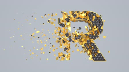 abeceda : Destroyed black font isolated on gray background with golden fragments. Shattered bold capital letters with hexagonal pattern. Crumbled effect, 3d render animation. Typographic design element.