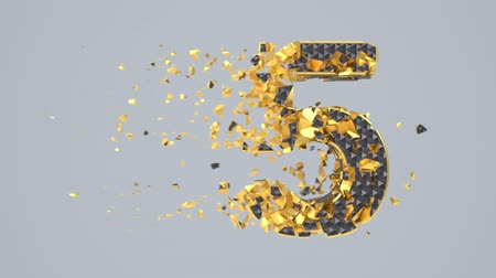 abeceda : Destroyed black font isolated on gray background with golden fragments. Shattered bold numbers with hexagonal pattern. Crumbled effect, 3d render animation. Typographic design element.