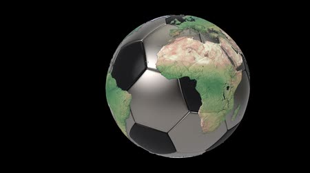futball labda : Realistic soccer ball isolated on black screen. 3d seamless looping animation. Detailed world map on black and iron soccer ball. Concept football earth globe. Sport design element. Stock mozgókép