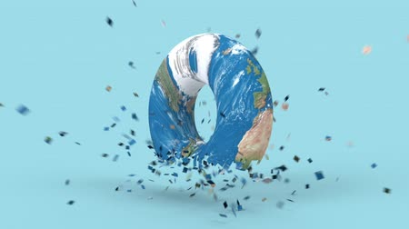 américa do norte : Rotating earth globe in minimal style. Shattered Earth planet on background, 3d render animation. Apocalypse, catastrophe concept. America, europe, africa, australia continents.