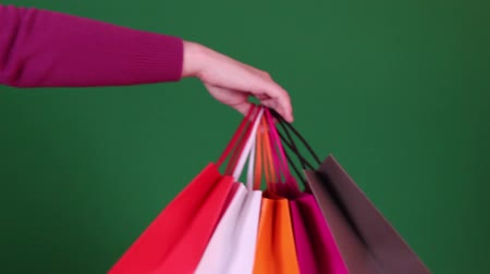 Person giving bags Stock Footage