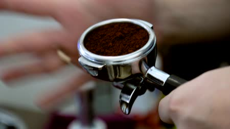 coffee grounds : Barista makes coffee tablet press