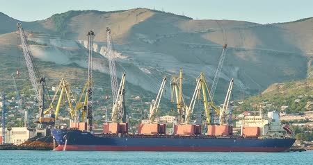 fosilní : Novorossiysk, Russia - August 26, 2019: Bulk carriers at the port of Novorossiysk. Dostupné videozáznamy