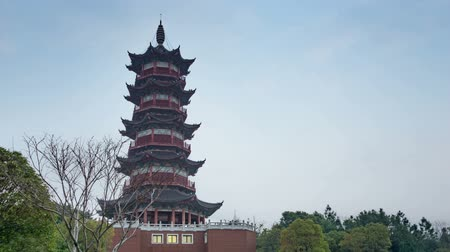 Chinese traditional ancient architecture: pagoda. Ancient architecture used to pray for good luck(Time-lapse photography)