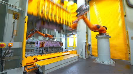 Modern car production line, is working in the robot(Time-lapse photography)