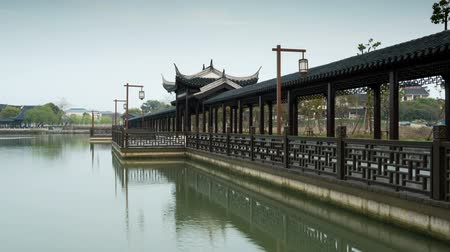 Long Corridor Bridge, Chinese classical architectural style Стоковые видеозаписи
