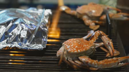 ıstakoz : Crab grilled by burning charcoal on roaster Stok Video
