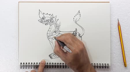статуя : Time lapse ,Speed drawing,Thai traditional art lion pen on paper