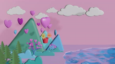 оригами : Heart shape balloon floating over the forest with a group of heart levitates over the mountain and pink background. 3D rendering.