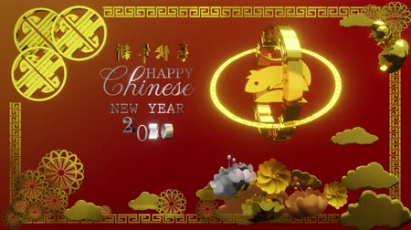 fejlődik : Chinese new year 2020 with cute rat, zodiac sign, pattern, cloud and flowers on red background 3D animation. (Chinese translation : Happy Chinese new year 2020, year of rat)