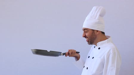 chef cooking : Chef toying with the pan