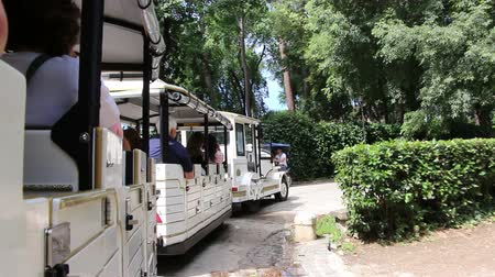 vezetett : Touring Villa Borghese in a small open train Stock mozgókép