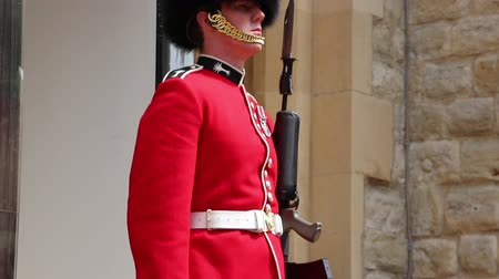 охранять : Her majesty palace guard with the traditional red uniform and furry hat standing on duty with riffle and knife