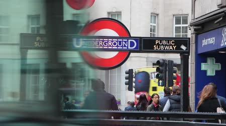 entrance : Underground public sign on the entrance to the subway station in London Stock Footage