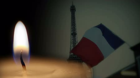 cerimônia : Shot of French flag and candle memorial background Vídeos