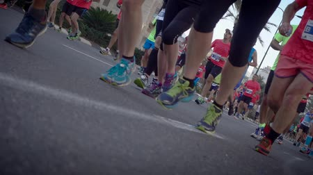 kilometer : Shot of Dutch angle of marathon runners