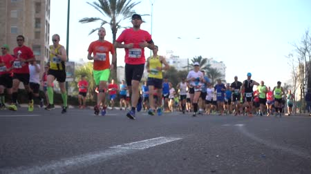 kilometer : Shot of People run at the Marathon