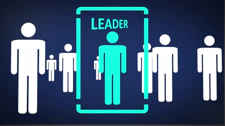lider : Animated illustration of a camera move through a crowd of people, eventually focusing on a Leader.