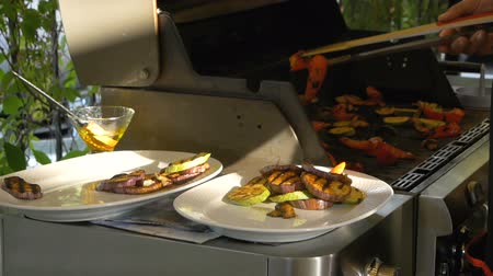 beringela : Cook lay out on plates with help of forceps various vegetables such as eggplant, pepper, zucchini and mushrooms. Healthy food is cooked on the grill. Man is preparing to serve a deliciously cooked dish. Sunlight gently shines on objects Stock Footage