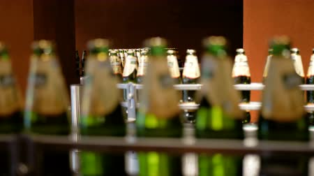 Large number of glass bottles with beer are moving along the conveyor. Low alcohol production. Drinks are ready to eat. Factory equipment at work. The finished product moves to another stage. Factory automation. Replacement of human labor with mechanical  Stock mozgókép