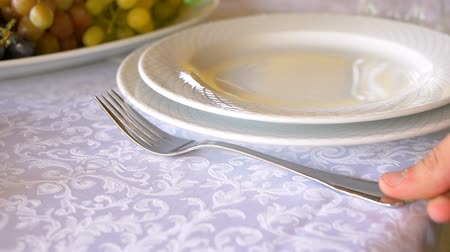 Professional table setting close-up. Plates and forks are placed on a white tablecloth.