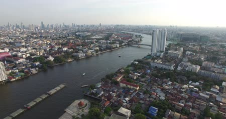 rzeka : Aerial scene  of Chao Phraya river  with skyline of Bangkok , Thailand, 25022017