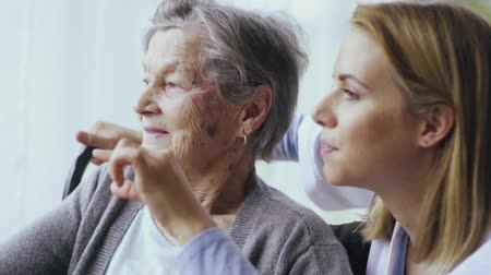 detail : Health visitor and a senior woman during home visit.