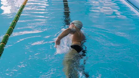 nadador : Senior man swimming in an indoor swimming pool.