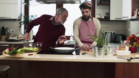 wąsy : Hipster son with his senior father cooking in the kitchen.
