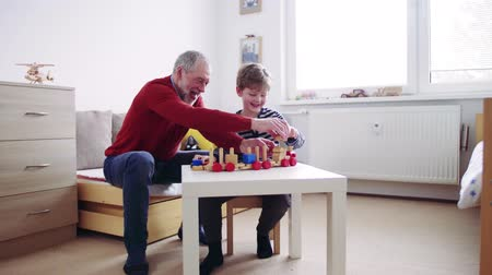Senior grandfather with a small grandson at home playing.