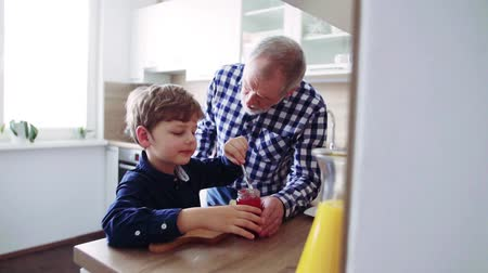 checked pattern : Senior grandfather with small grandson preparing food at home. Stock Footage