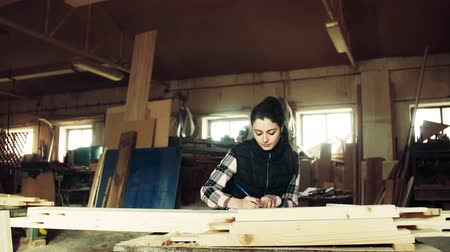 background material : Woman worker in the carpentry workshop, making plans.