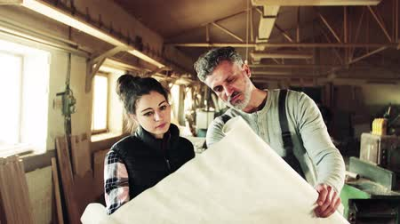 craftsperson : Man and woman workers in the carpentry workshop.