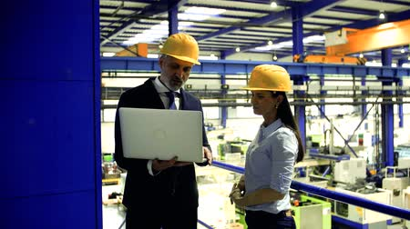 supervisor : Industrial man and woman engineers with laptop in a factory working. Stock Footage