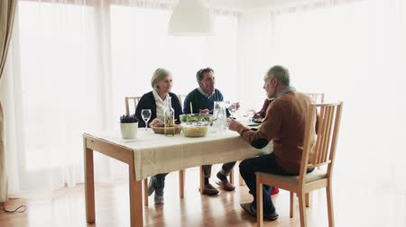adega : Senior couple having dinner with friends at home. Vídeos